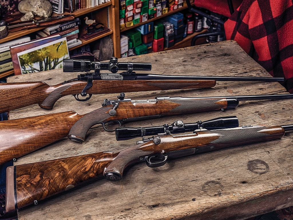 Top to bottom: An early Ruger Model 77 flatbolt; a Griffin & Howe Model 70; and the Jules La Bantchni Mauser were keystones in the author's quest for the perfect rifle.